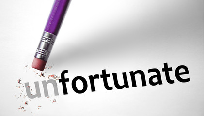 Eraser changing the word Unfortunate for Fortunate