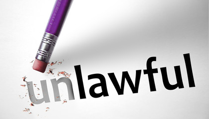 Eraser changing the word Unlawful for Lawful
