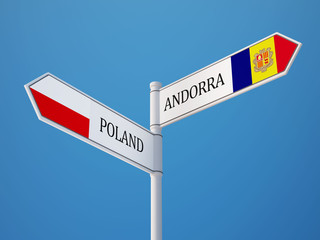 Poland Andorra  Sign Flags Concept