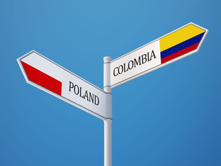 Poland Colombia  Sign Flags Concept