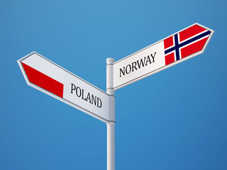 Poland Norway  Sign Flags Concept