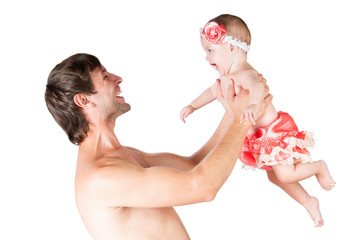 Games with Dad, father throw up baby daughter in arms