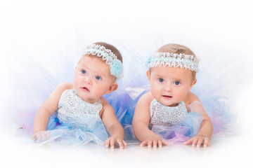 Two charming sisters baby twins in the lush beautiful dresses