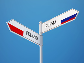 Poland Russia  Sign Flags Concept