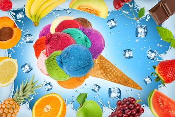 ice cream fruit concept