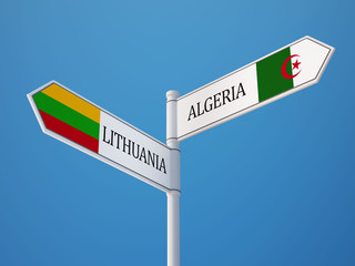 Lithuania Algeria  Sign Flags Concept