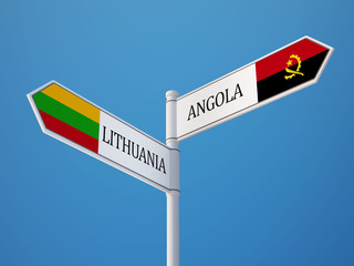 Lithuania Angola  Sign Flags Concept