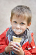 Boy eating ice cream