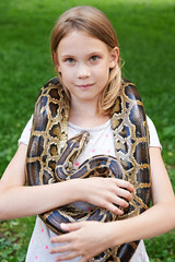 Girl with boa constrictor