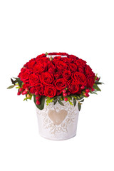 Bunch red roses in bucket. Isolated on white background
