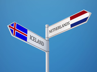Iceland Netherlands  Sign Flags Concept