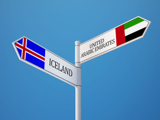Iceland United Arab Emirates.  Sign Flags Concept