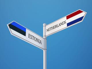 Estonia Netherlands  Sign Flags Concept