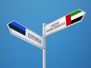 Estonia United Arab Emirates.  Sign Flags Concept