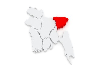 Map of Sylhet. Bangladesh.