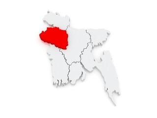 Map of Rajshahi. Bangladesh.
