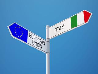 European Union Italy  Sign Flags Concept