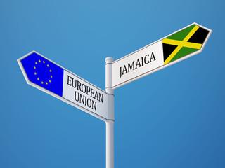 European Union Jamaica  Sign Flags Concept