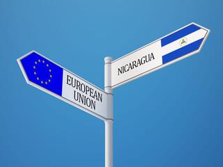 European Union Nicaragua  Sign Flags Concept