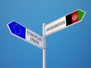 Afghanistan. European Union  Sign Flags Concept