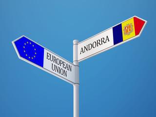 European Union Andorra  Sign Flags Concept