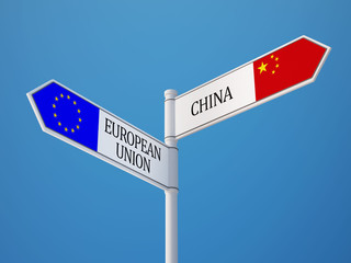 European Union China  Sign Flags Concept