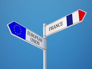 European Union France  Sign Flags Concept