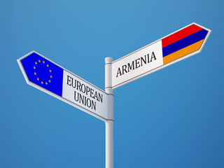 European Union Armenia  Sign Flags Concept