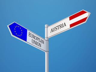 European Union Austria  Sign Flags Concept