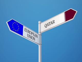 European Union Qatar  Sign Flags Concept