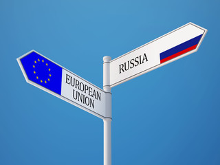 European Union Russia  Sign Flags Concept
