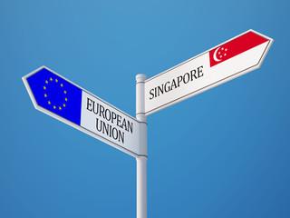 European Union Singapore  Sign Flags Concept