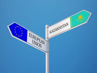 European Union Kazakhstan  Sign Flags Concept
