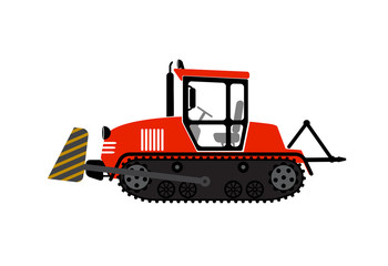illustration a tractor with a ladle on a white background
