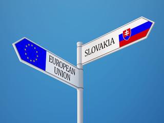 European Union Slovakia  Sign Flags Concept