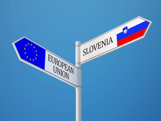 European Union Slovenia  Sign Flags Concept