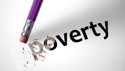 Eraser deleting the word Poverty