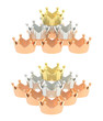 Pyramid pile of crowns isolated