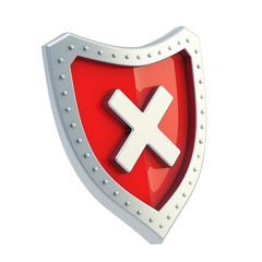 No x cross mark sign over a shield