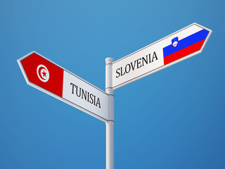 Tunisia Slovenia  Sign Flags Concept