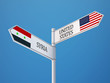 Syria United States  Sign Flags Concept
