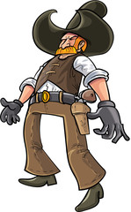 Cartoon cowboy ready to draw his gun