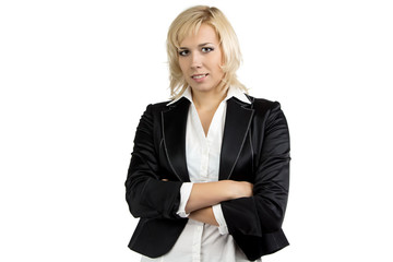 Businesswoman in suit with arms crossed