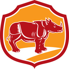 Rhinoceros Standing Shield Retro