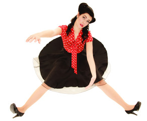 Retro. Pinup girl stylized like marionette