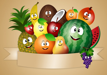 Funny fruits for vegan diet