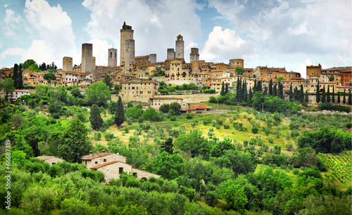 San Gimignano panorama - medieval town of Tuscany, Italy - 66687319