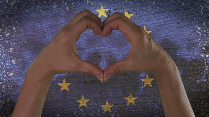 Hands Heart Symbol European Flag