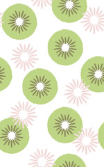 Seamless pattern of kiwi fruits
