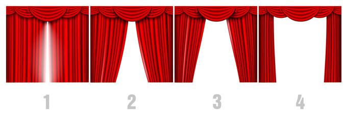 red silk curtains